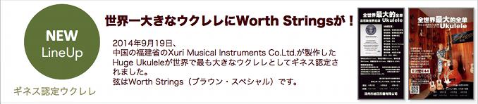世界一大きなウクレレにWorth Stringsが!